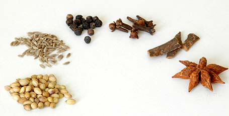 Indian Spices - Coriander Seeds, Cumin, Black Peppercorn, Cloves, Cinnamon, Star Anise