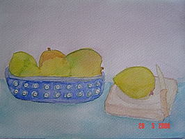 Mango Basket in Watercolor by Miel of Food and Watercolor