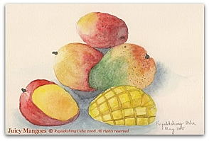 Juicy Mangoes: Watercolor by Rajalekshmy Usha