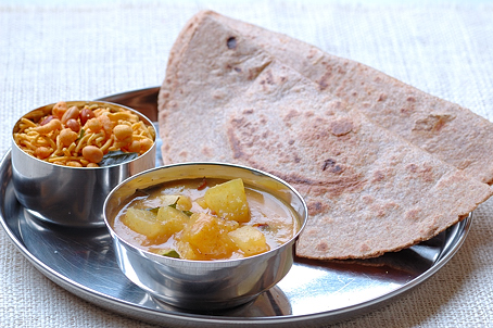 Teepi Gummadi Kura, Pumpkin Curry with Roti