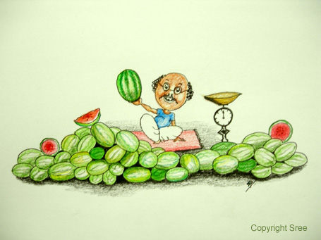 Melon Mela - Sketch by Sree of Sree's Canvas