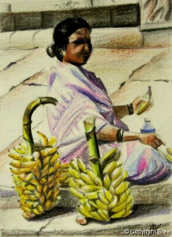 Banana Vendor by Sree of Sree's Canvas