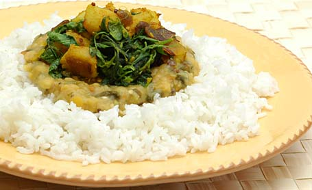 Aloo Methi with Methi dal and rice.