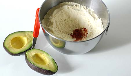 Ripe Avocado and Wheat flour with red chilli-garlic powder and salt