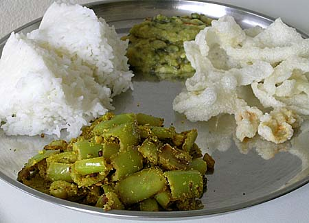 Banana Pepper Curry, Rice, Spinach Dal and Rice Vadiyaalu(papad)