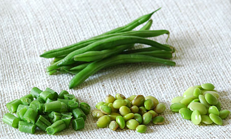 Green Beans, Shelled Indian Beans, Baby Lima Beans