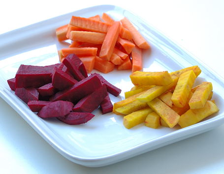 Red Beets, Gold Beets and Carrots ~ for Sambar