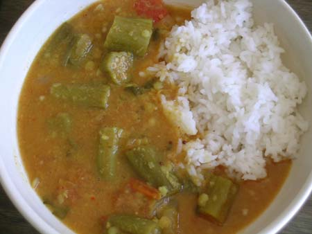 Okra Sambhar (Benda kaaya Sambhar) with Rice