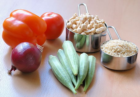 Ingredients for Vegetarian Gumbo