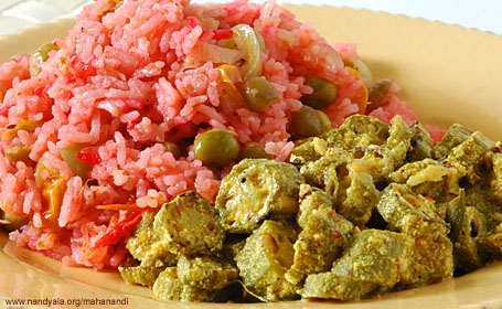 Okra in Yogurt Sauce and Beetroot-Tomato Pulao