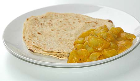 Bottle gourd curry (Sora kaya Kura) and chapatis