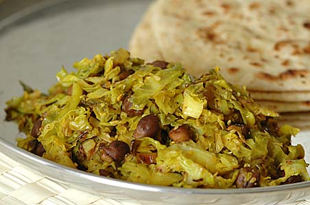 Brussels Sprouts Curry with Chapatis
