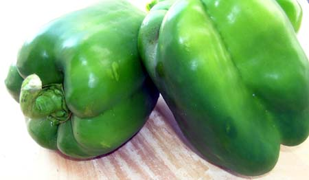 Green Bell Peppers (Capsicum or Bangalore Mirchi)