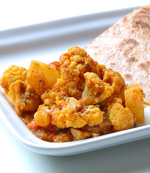 Aloo Gobi with Kasuri Methi and Golden Raisins