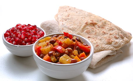 Chakalaka with Chapatis and Pomegranate