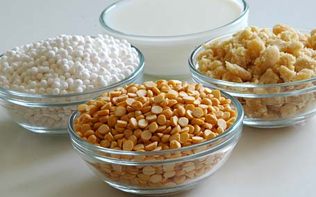 Chana dal, Sabudana (Sago), Milk and Jaggery - Ingredients for Payasam