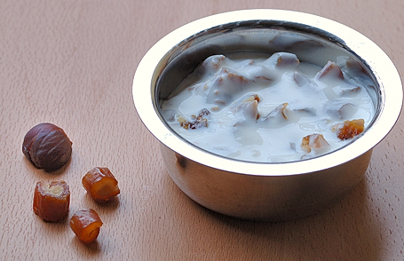 Boiled Chestnuts and Finely Chopped Dates with Yogurt