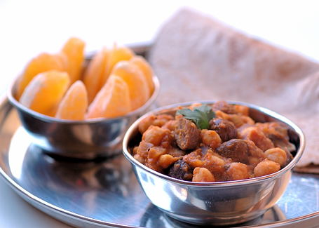 Chickpea-Chestnut Chili with Chapati