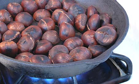 Roasting Chestnuts in an Iron Skillet on Stovetop (Almost done)
