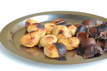Shelling the Roasted Chestnuts