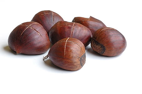 Chestnuts, with a plus shaped cut, Chestnuts, Prepped for Roasting