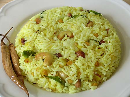 Lemon Rice and Pickled Green Chilli (Chitrannam and Majjiga Mirapa kaayalu)