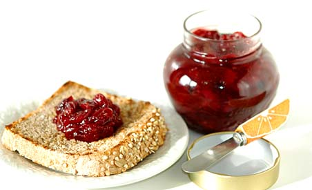Cranberry Jam on a Slice of Whole Wheat Bread
