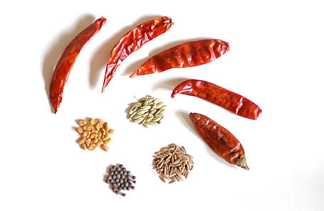 Chari Phutana and Dried Red Chillies