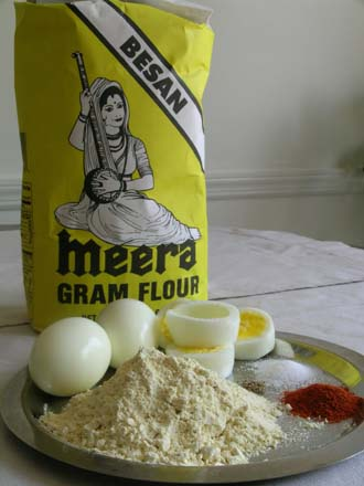 Chickpea Flour, Boiled Eggs, Red Chilli Powder, Salt and Vaamu/ajwain