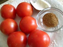 Tomatoes, Dhania-Jeera powder, Dry Coconut piece for Egg Kurma