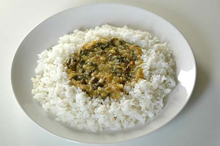 Methi dal (Fenugreek Dal, Menthi Kura Pappu) with Rice and Ghee