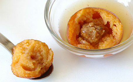 Sweet Potato Gulab Jamuns (Ranga Alur Puli) with coconut halwa filling