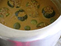 Stuffed brinjal curry in pressure cooker after one whistle