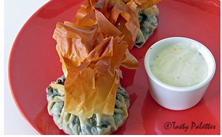 Money Bags Florentines with Spinach ~ from Suganya of Tasty Palettes