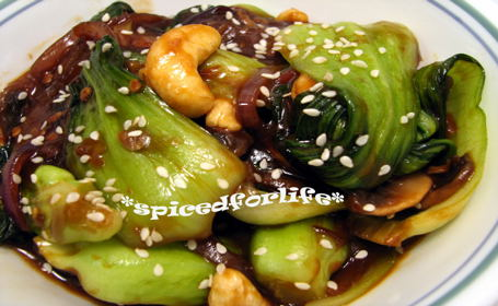 Stir-Fried Bok Choy with Cashews ~ from Smitha of Spiced for Life