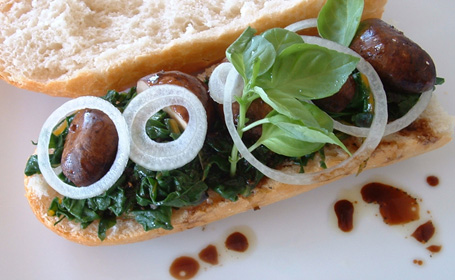 Rainbow Chard - Mushroom Sandwich ~ from Nupur of One Hot Stove