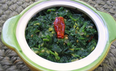 Sauteed Spinach with Dal ~ from Priya of Priya's Kitchen