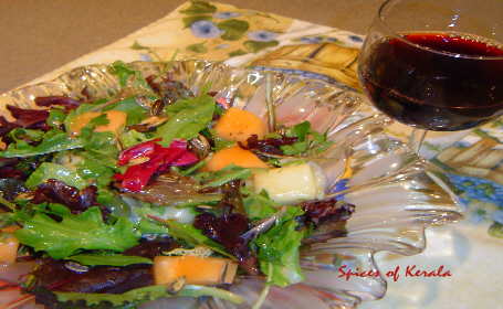 Fresh Herb Salad with Halloumi Cheese ~ from Reena of Spices of Kerala
