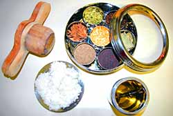 Idiyappam Wooden Mold, with Idiyappam , Spice Box with Glass Lid, Ghee Holder and with spoon
