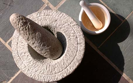 Stone Mortar and Pestle - big one from India and the small one from Ikea