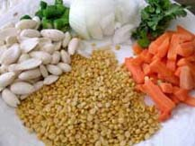 Ingredients for lentil-almond burgers