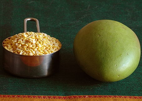 Yellow Moong Dal and Unripe Mango