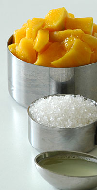 Ripe Mango Cubes, Sugar and Lime Juice