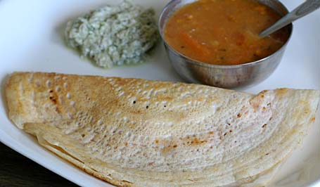 Masala Dosa with Coconut chutney and a cup of sambhar