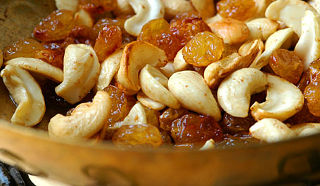 Toasted in Ghee - Cashews and Golden Raisins