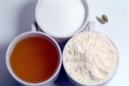 Besan Flour, Ghee, Sugar and Cardamom Pods