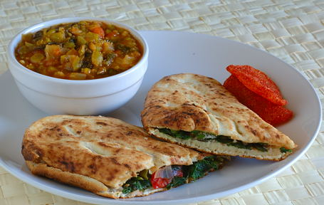 Paneer Naanini with Split Pea-Spinach Stew and Dried Sweet Mango Pieces