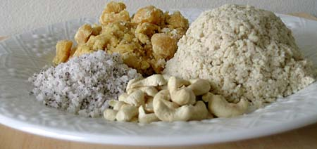 Sesame seeds made into powder, cashews, dry coconut powder, jaggery