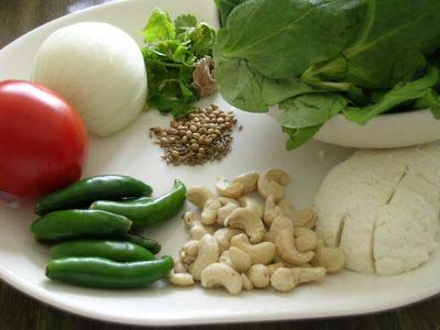 Palak Paneer Ingredients