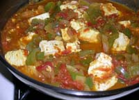 Cooking all the Ingredients - Kadai Paneer in making